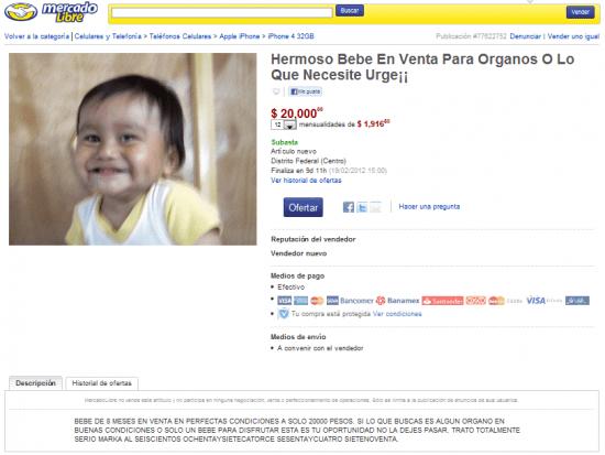 Indigna presunta subasta online de bebé