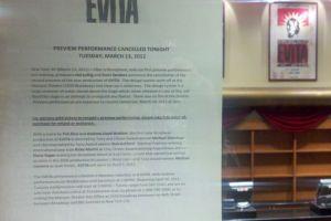 """""""Evita"""" empezó ayer y hoy cancelaron"""