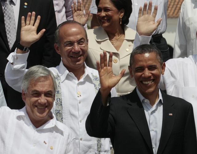 Foto oficial de los presidentes asistentes a la VI Cumbre de las Américas.