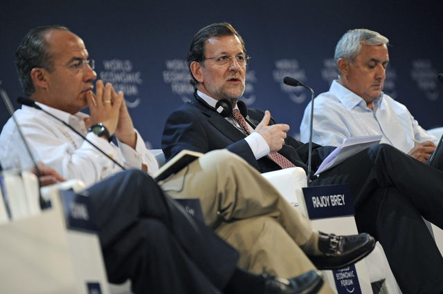 Los mandatarios de México, España y Guatemala   en el foro.