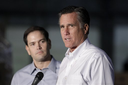 Standing next to Rubio, Romney demurs on VP search