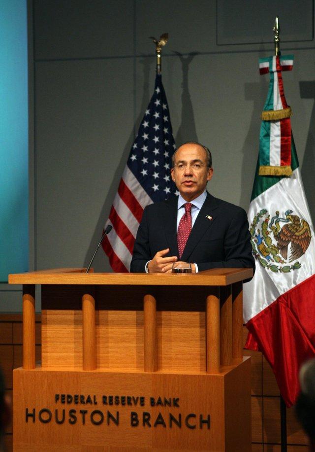 El presidente Felipe Calderón en Houston, Texas.