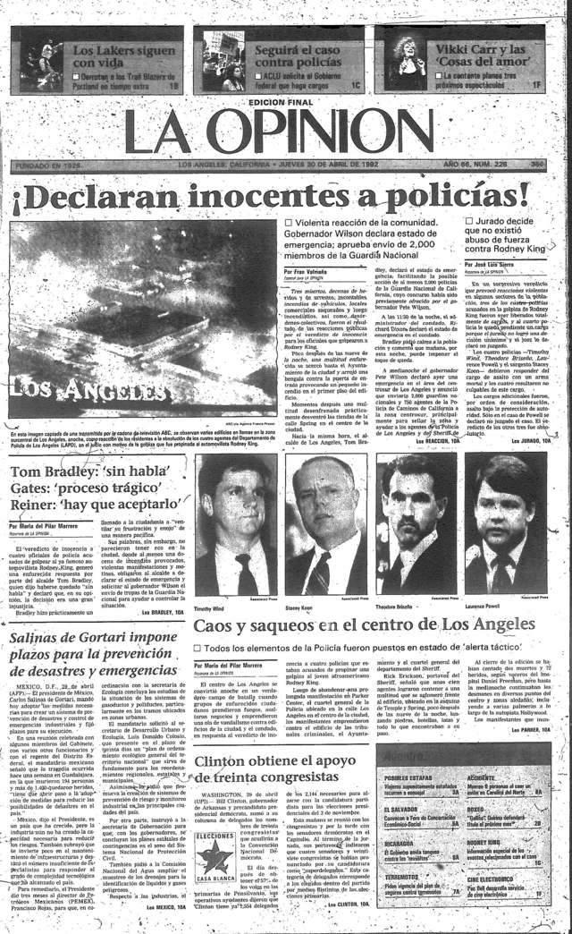 La portada de 'La Opinión' del 30 de abril de 1992 da fe del sorprendente veredicto y de la reacción inmediata.