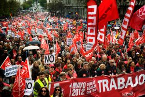 Protestas en  Europa  en el  Día del Trabajo