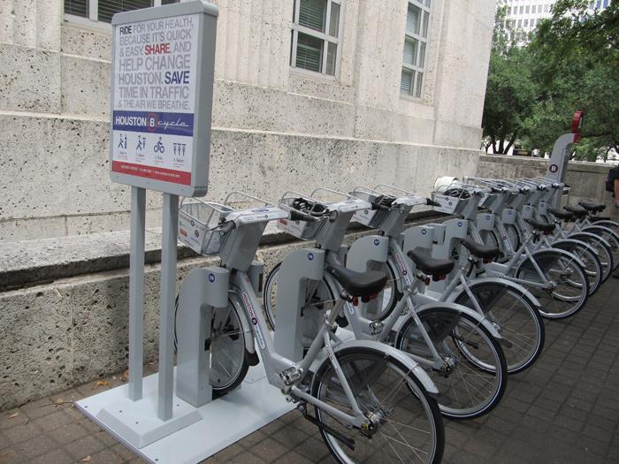Una de las primeras estaciones de alquiler de bicicletas Houston B Cycle.
