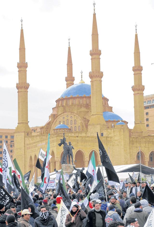 Manifestación contra el régimen de Al Asad, en el extranjero, esta llevada a cabo en Líbano.
