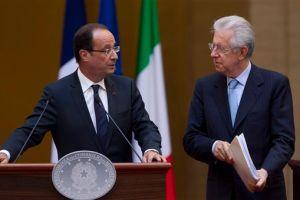 Reunión de Monti y Hollande previa a la cumbre de Roma
