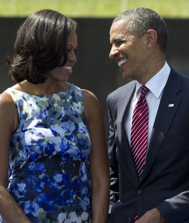 Michelle y Barack Obama durante la ceremonia de Memorial Day.