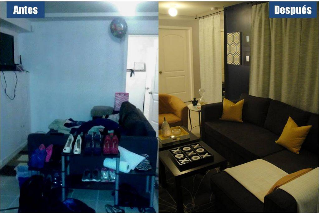 El sótano del hogar de la familia Abeja antes y después de ser remodelado.
