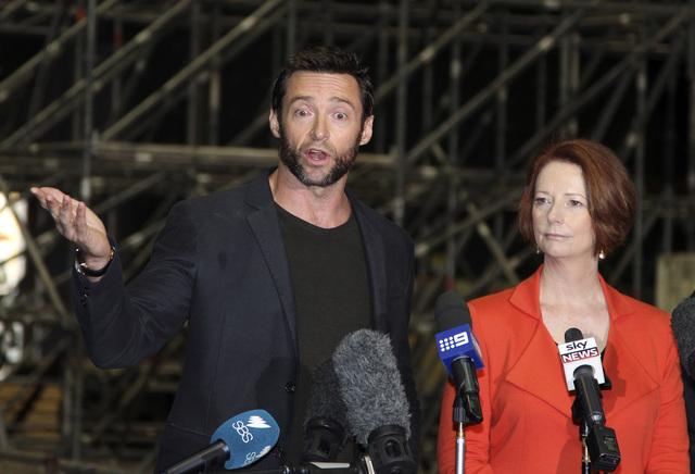 Hugh Jackman en la conferencia de prensa de ayer en la capital australiana.