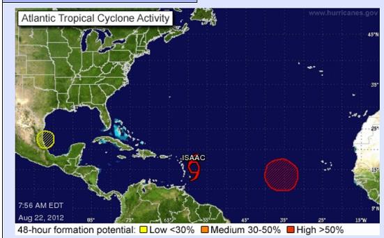 "Tormenta tropical ""Isaac"" se fortalece camino a Puerto Rico (video)"