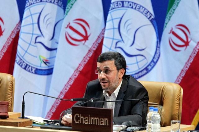El presidente iraní, Mahmud Ahmadineyad, hablaba ayer, en la sesión de clausura de la Cumbre del Movimiento de Países No Alineados.