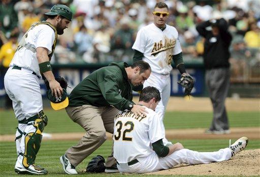McCarthy pitcher de Oakland alerta tras cirugía craneal