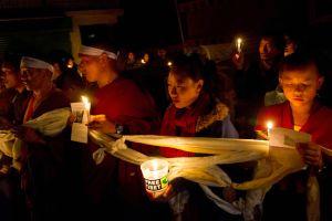 Tibetano se prende fuego