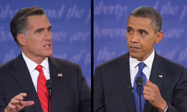 Presidente Barack Obama y su rival Mitt Romney en debate celebrado en la Universidad de Denver.