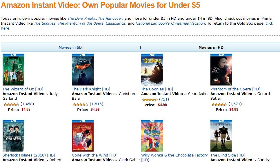 Amazon vende hoy populares filmes por $5 o menos
