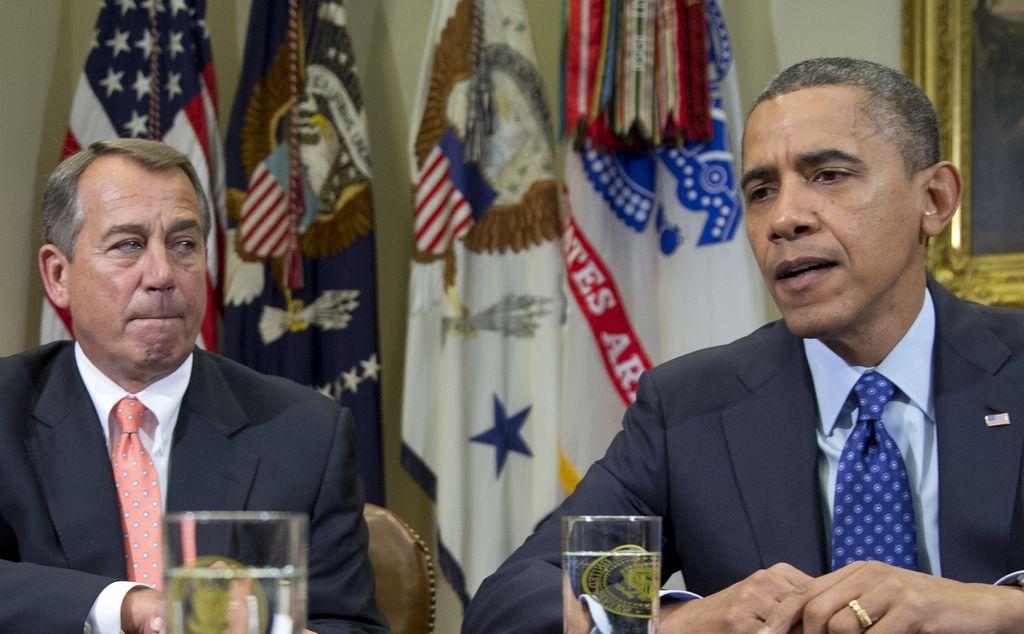 Representantes republicanos acuerdan voto sobre límite de deuda en Williamsburg, Virginia. En la foto, el republicano John Boehner y el presidente Obama.