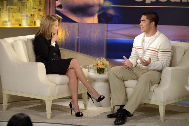 Manti Te'o durante la entrevista que le hizo Katie Couric, en la cual confiesa su breve mentira.