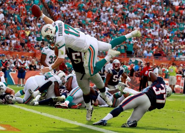 Imagen de archivo de un partido entre los Miami Dolphins y los England Patriots.