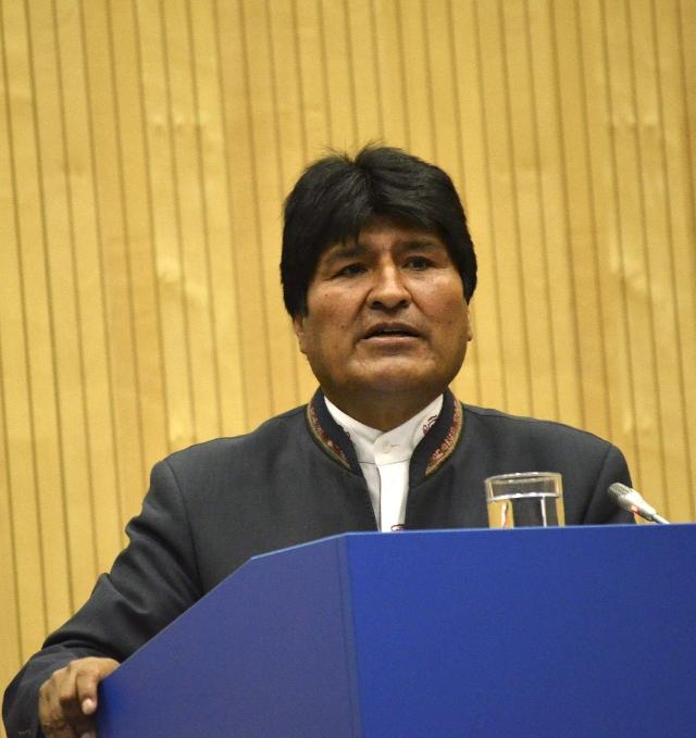 Evo Morales habla en viena sobre la hoja de coca.