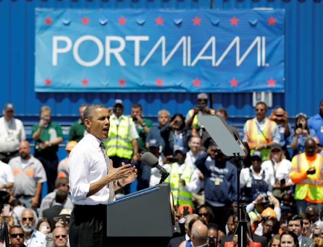 El presidente Barack Obama habló en el Puerto de Miami, promoviendo su plan de creación de trabajos con inversión privada.