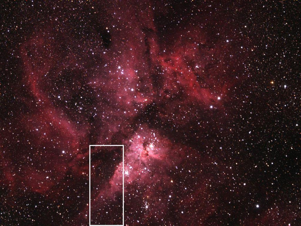 El asteroide 2012 DA14 y la nebulosa Eta Carinae.