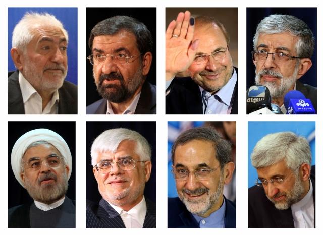 Los ocho candidatos de las próximas elecciones en Irán.