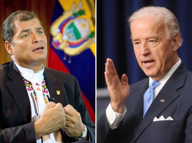 Vicepresidente de EEUU, Joe Biden, pidió a Rafael Correa, presidente de Ecuador, 'no concederle asilo político a Edward Snowden', ayer.