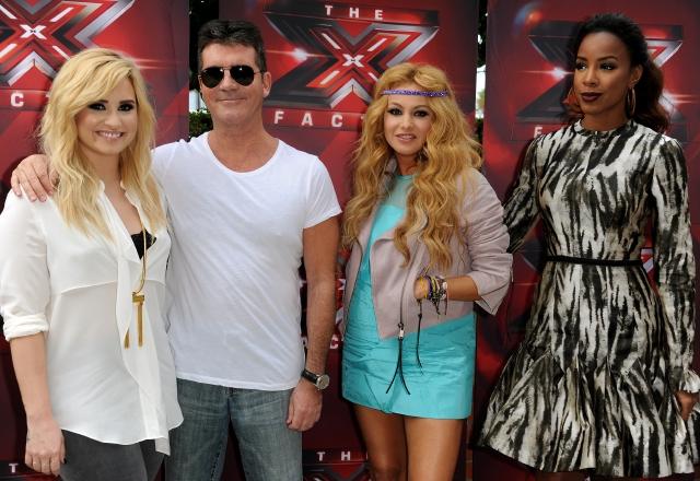 Demi Lovato, Simon Cowell, Paulina Rubio y Kelly Rowland el pasado jueves en LA.