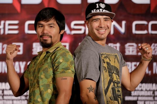 Manny Pacquiao (izquierda) y Brandon Ríos pronosticaron que será una pelea que no llegará al límite.