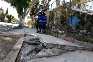 Denuncian peligros por aceras destrozadas en Los Ángeles