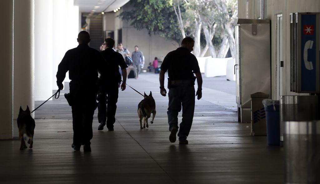 Oficiales buscaban posibles evidencias que hubiese dejado en la zona el pistolero.