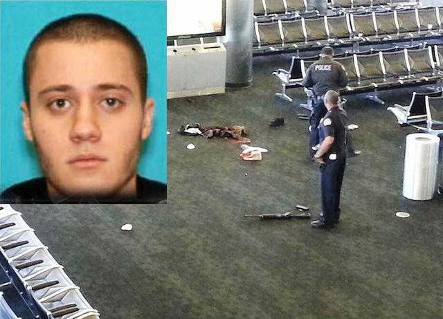 Paul Anthony Ciancia trajo un fusil de asalto (que se ve en el piso), con el que mató a un agente del TSA.