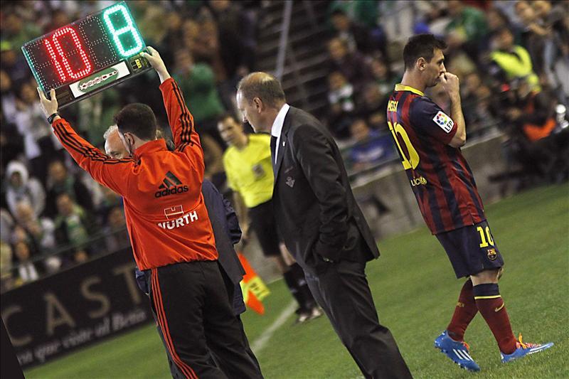 Messi sólo aguantó veinte minutos antes de lesionarse y ser sustituido