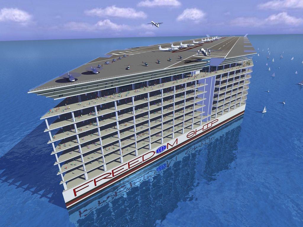 """Imagen computadorizada de lo que sería la ciudad-barco """"Freedom Ship of the Seas""""."""