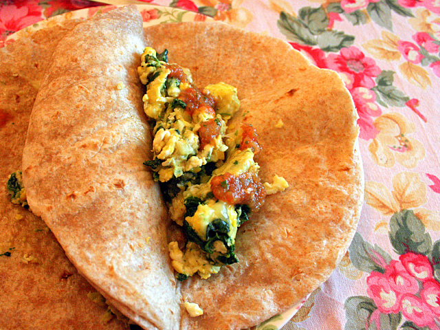 This breakfast taco has got it all: dairy, grains, veggies, and protein.