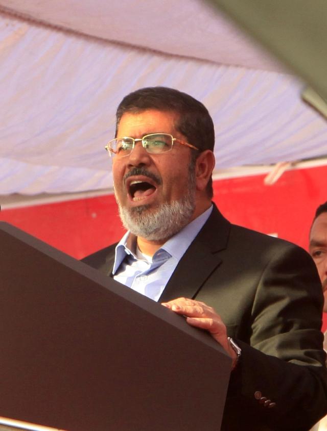 Mohamed Mursi, cuando era el jefe de Estado y ofrecía un discurso en la plaza Tahir, en el Cairo, Egipto.