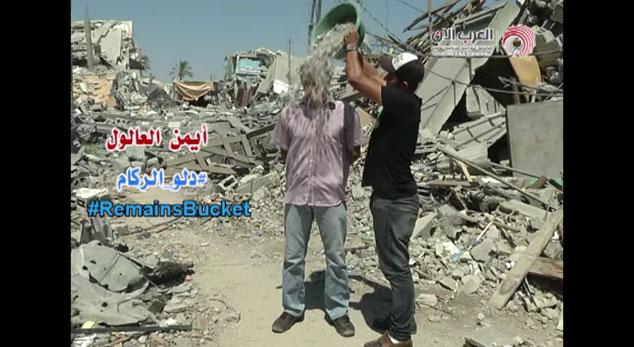 """Palestino crea versión con escombros del """"Ice Bucket Challenge"""""""