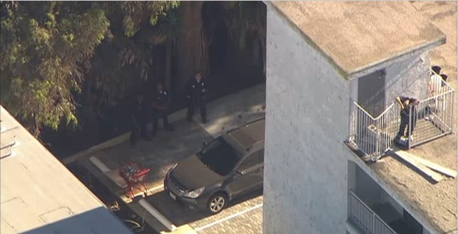 Video tomado desde una cámara aérea muestran a carros patrullas afuera del edificio.