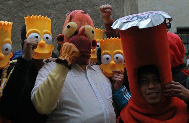 Una manifestación para pedir el regreso de las emisiones de Los Simpson, el 6 de febrero de 2015, en La Paz.
