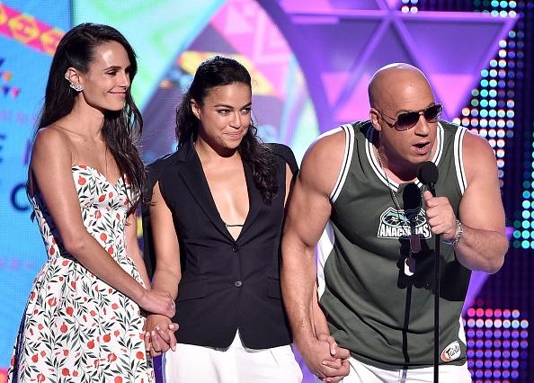 De izq. a der., los actores Jordana Brewster, Michelle Rodriguez y Vin Diesel.