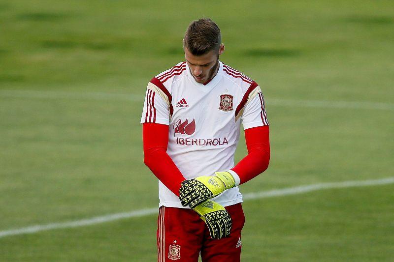 De Gea se desahoga en el entrenamiento de la selección española
