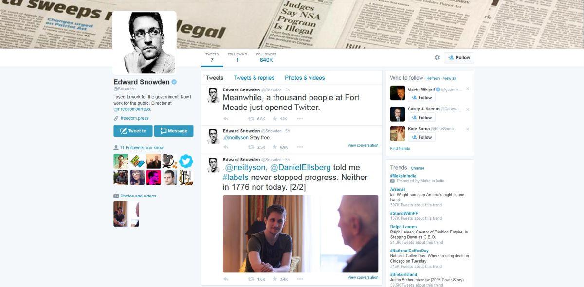 El provocador primer tuit de Edward Snowden