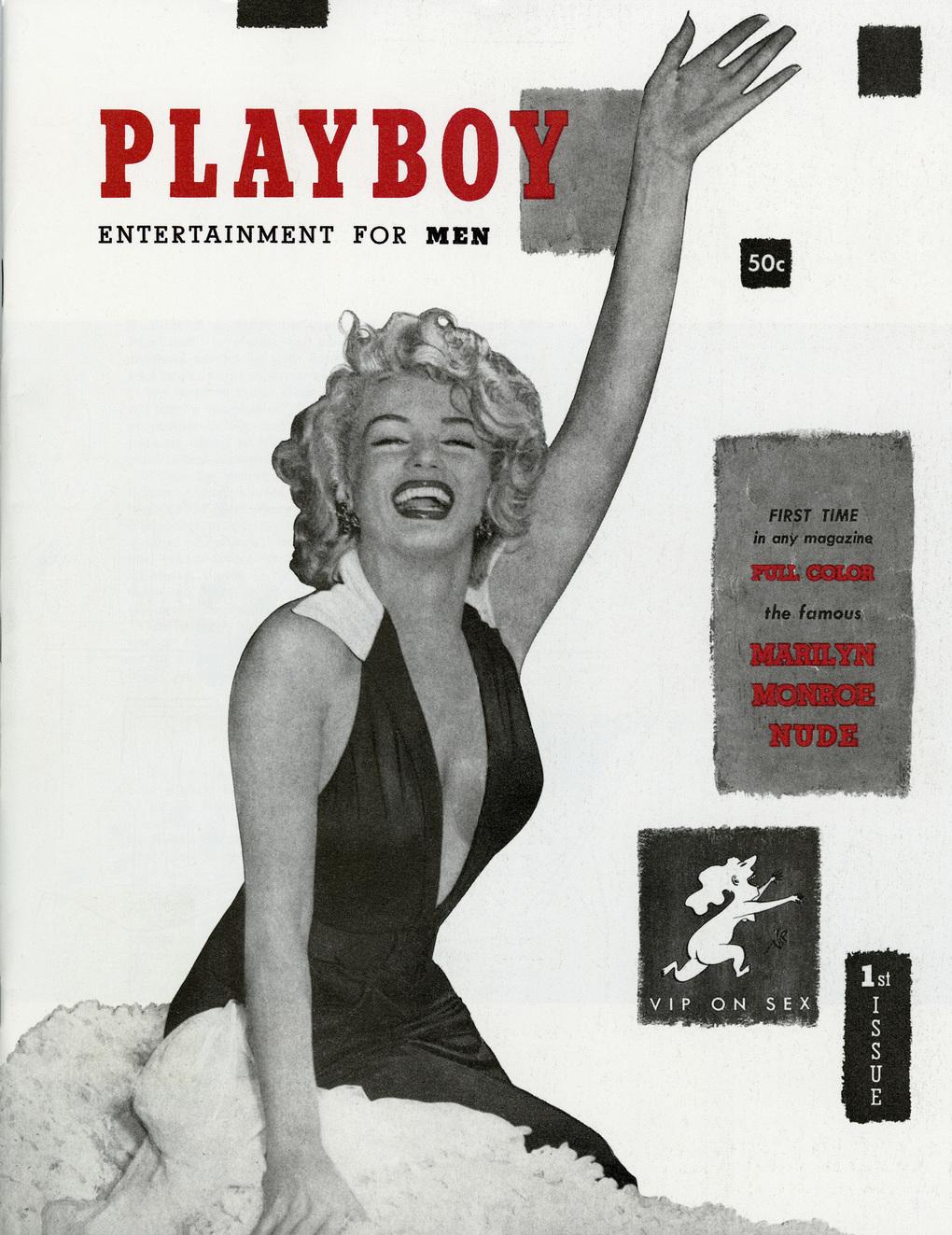 Marilyn Monoe en la portada de la primera edición de Playboy en diciembre de 1953.