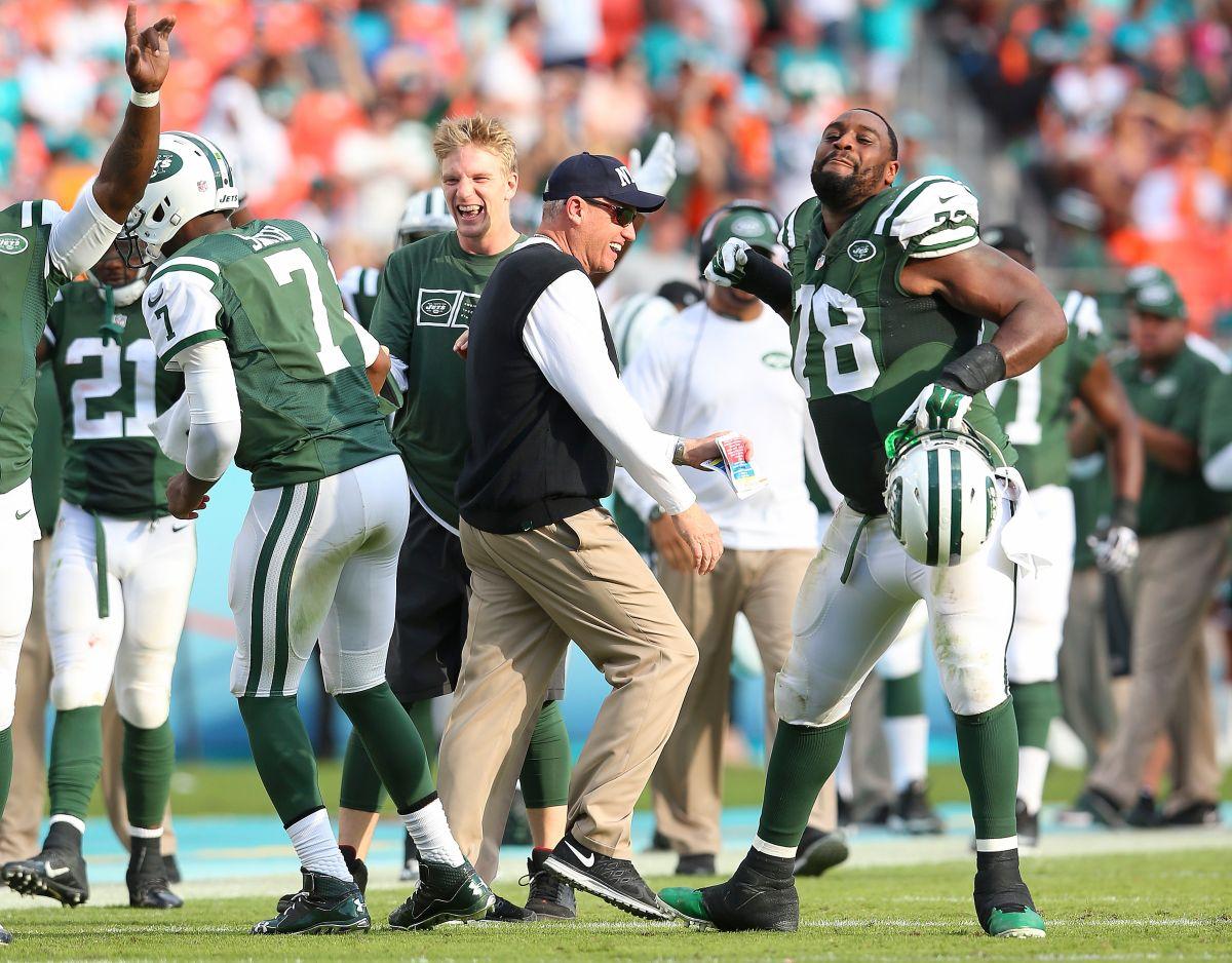 Imagen del último partido que Rex Ryan dirigió como entrenador de los Jets, el pasado 28 de diciembre en un triunfo sobre Miami.
