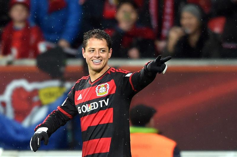 """Javier """"Chicharito""""Hernández llegó a 21 goles en esta temporada con el Bayer Leverkusen, 13 de ellos en Bundesliga. Foto: EFE."""