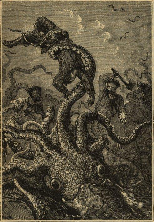 """Ilustración original de Alphonse-Marie-Adolphe de Neuville para la edición príncipe de la novela """"Veinte mil leguas de viaje submarino"""", de Julio Verne."""