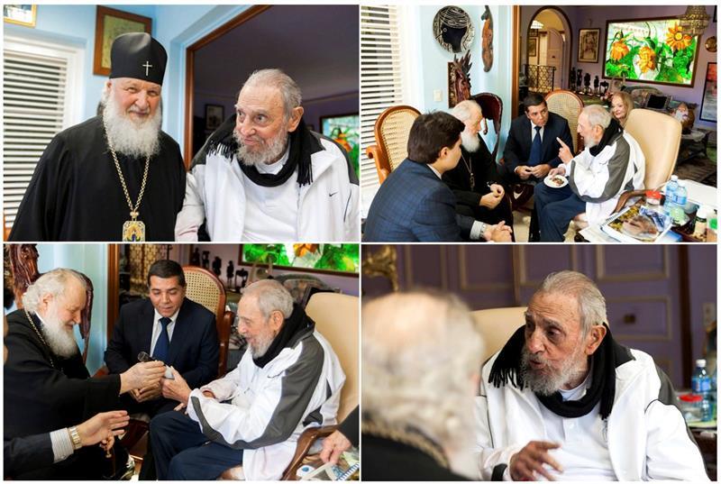 Fidel Castro y el patriarca ortodoxo Kiril
