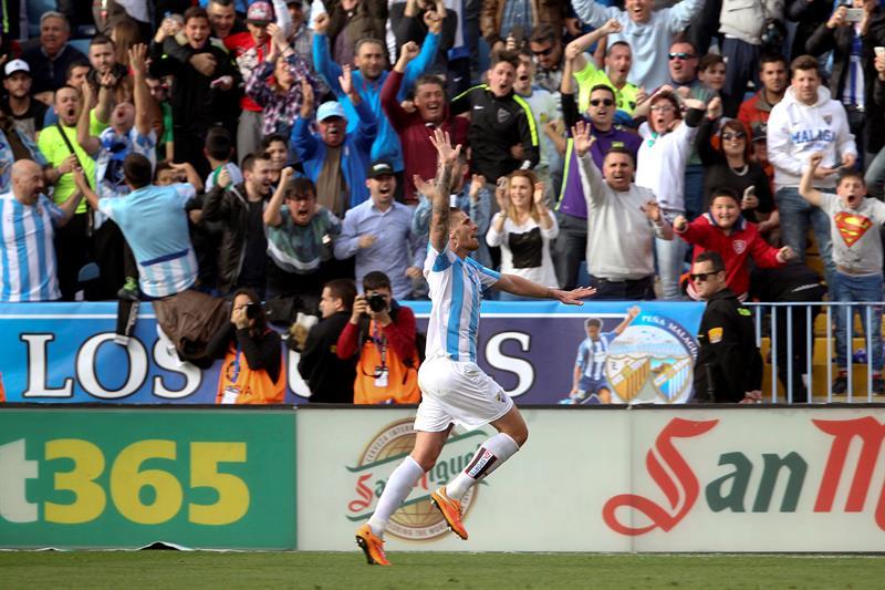 El festejo de Albentosa tras hacer el gol del empate ante el Real Madrid.