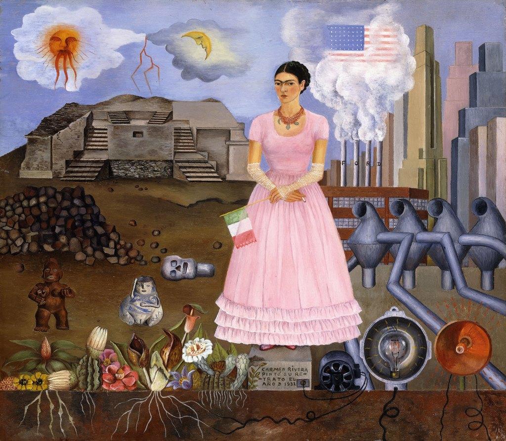 'Autorretrato en la Frontera entre México y los Estados Unidos', 1932 (óleo sobre metal), de Frida Kahlo; 31x35 cm.